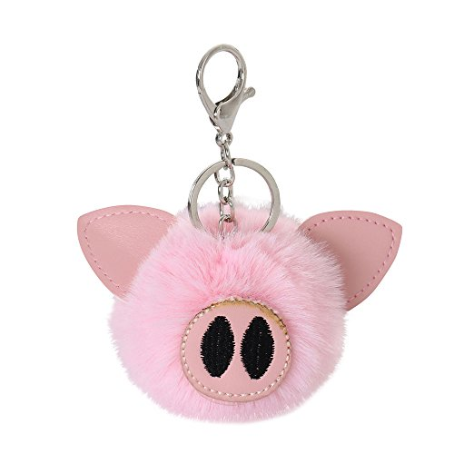 - Fitfulvan Clearance Deal! Faux Rabbit Fur Ball PomPom Cute Pig Car Pendant Handbag Key Ring Chain (Pink)