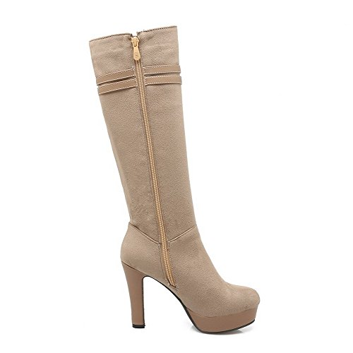 Toe High Round Women's Imitated High Khaki Boots Closed Zipper Heels AmoonyFashion Suede top cy4X1qIHq