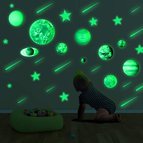 Dark Stars and Planets Ceiling Wall Stickers Glowing Bright Solar System Wall Decals with 10pcs Planets 27pcs Stars and 12pcs Shooting Stars for Kid Bedroom Living Room ()