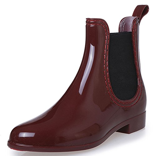 JACKSHIBO Women's Short Ankle Winter Rain Boots Fashion Elastic Slip On Rubber Boots