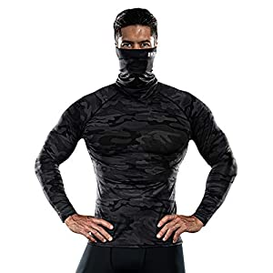 DRSKIN MASK Turtleneck Compression Shirts Top Cool Dry Sports Baselayer Running Long Sleeve Men