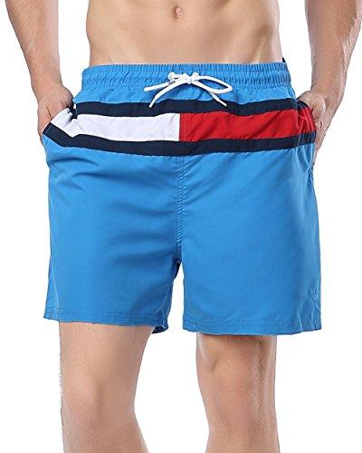 ABUSA Men's Peach Skin Beach Shorts Swim Trunks Blue