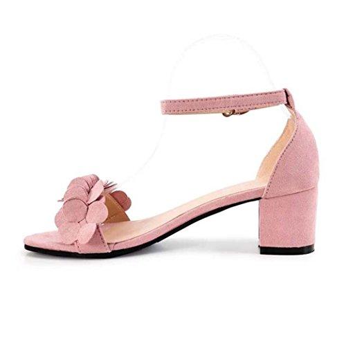 PENATE Women's Fashion Heeled Sandals Summer Lightweight Flip-Flops High Heel Open Toe Casual Wedge Shoes (5.5 B(M) US, Pink)