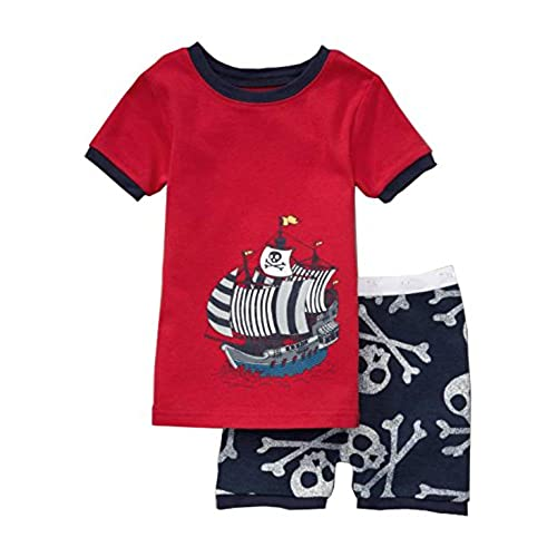 babyroom pirate boat boys 2 piece 100 cotton short pajama set size 5y red 1