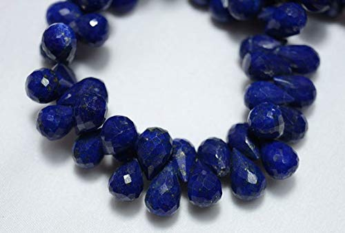 GemAbyss Beads Gemstone Lapis Lazuli Tear Drops Beads, Lapis Faceted Drops Side Drill Briolettes Gemstone for Jewelry, 7x10mm Approx, 4.5 Inch Strand Code-MVG-24921