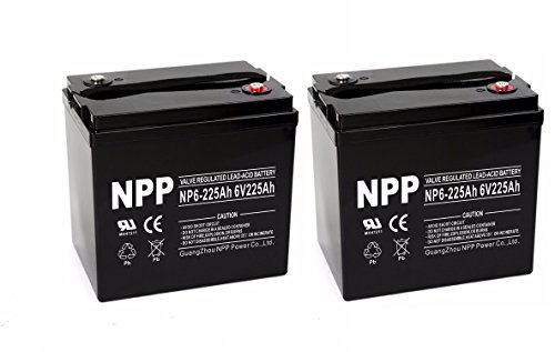 Photo NP6-225Ah 6V 225Ah AGM Deep Cycle Battery Camper Golf Cart RV Boat Solar Wind Power / (2pcs)