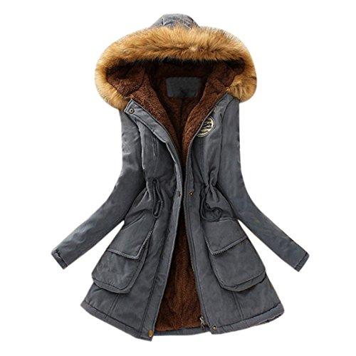 Manteau Femme Hiver,MEIbax Femme Hiver Chaud Long Manteau de Coton Faux Col de Fourrure Veste Capuche Slim Parka Manteaux S-XXXL Gris