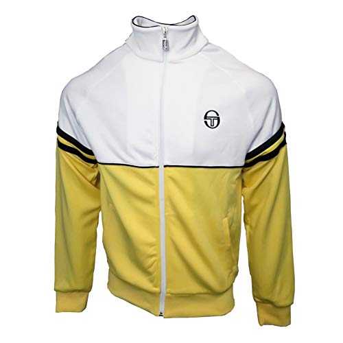 (Sergio Tacchini Mens Orion Track Top Light Yellow/White XL)
