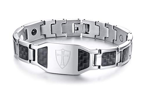 PJ Jewelry Mens Knights Templar Cross Shield Bracelet Stainless Steel Carbon Fiber 4 in 1 Magnetic Wrist Bracelet (Carbon Fiber Stainless Magnetic Bracelet)