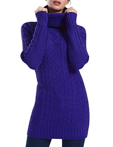 - Rocorose Women's Turtleneck Knit Sweater Cable Long Sleeves Sweater Blue M