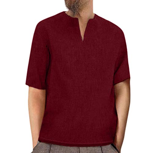 TIFENNY Men's Baggy Retro Shirts Summer Cotton Linen Solid Half Sleeve V Neck T Shirts Tops Blouses Loose Tee Wine]()