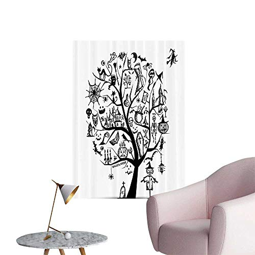 Vinyl Wall Stickers Sketch Style Halloween Tree with Spooky Objects and Wicked Witch Perfectly Decorated,12