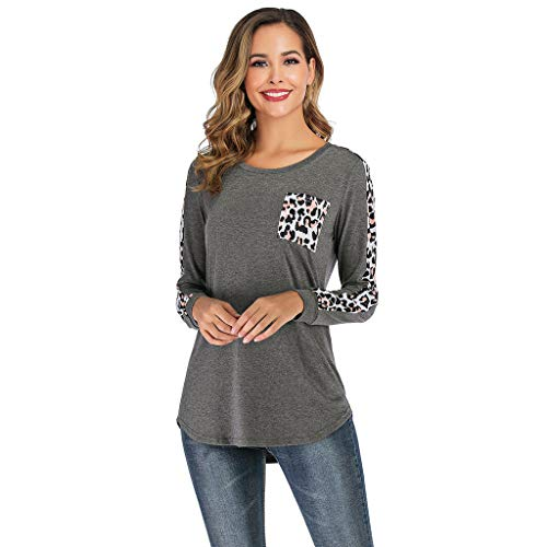 (Casual Tunic Blouse Shirt,Londony Womens Long Sleeve Round Neck T Shirts Leopard Causal Blouses Tops with Pocket Gray)