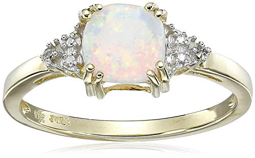 Jewelili 10kt Yellow Gold 6mm Cushion Cut Created Opal and Round Natural White Diamond Accent October Birthstone Ring, Size 8