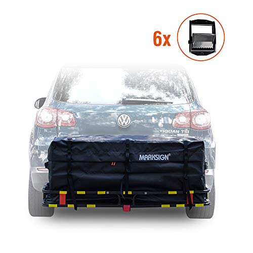 MARKSIGN 100% Waterproof Hitch Carrier Cargo Bag 58'' x 19'' x 23'' (15 Cu Ft), Waterproof Zipper and Rain Flap, 6 Lashing Straps with Cam - Small Flap Bag