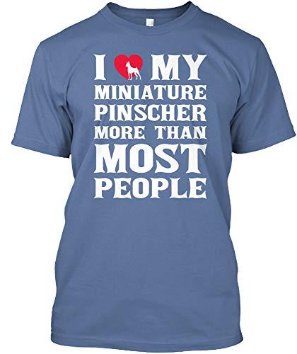 I Love My Miniature Pinscher. 3XL - Denim Blue Tshirt - Hanes Tagless ()