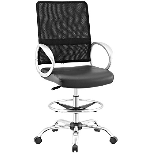 Modway Command Mesh and Faux Leather Ergonomic Adjustable Drafting Chair