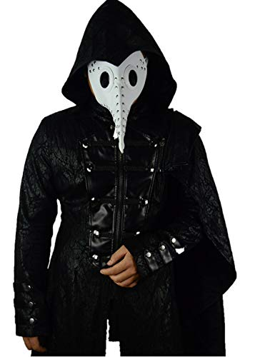 Gothic Plague Doctor Bird Mask for Men PU Leather Steampunk Retro Mask Halloween Cosplay Costume (Black003)]()