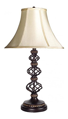 Bronze/Gold 150 Watt 30.75in. Wrought Iron and Resin Table Lamp with 3-Way Switch and Bell Silk Shade