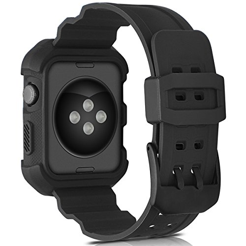 Compatible Apple Watch Band 42mm Case,Camyse Shockproof Rugged Protective Cover with Bands Stainless Steel Clasp for iWatch Apple Watch Series 3, 2, 1 Sport Edition for Men Women Grils Boys - Black by Camyse (Image #2)