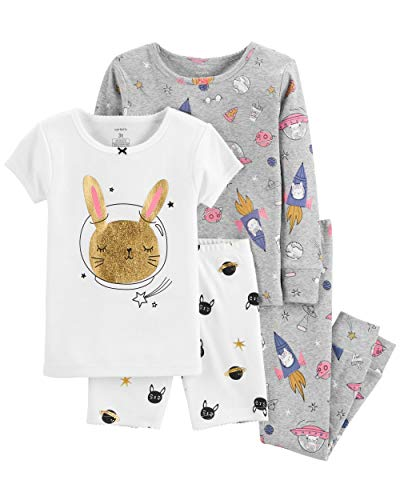 Carter's Baby & Toddler Girls' 4-Piece Snug Fit Cotton PJs (4T, Space Bunny/Heather) ()