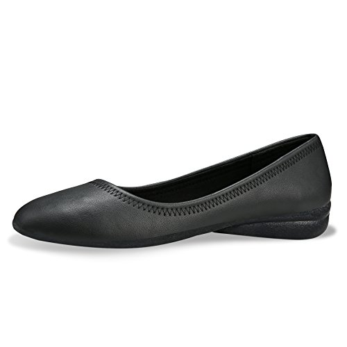 CINAK Women Flats Shoes – Slip-on Ballet Comfort Walking Shoes Women (8-8.5 B(M) US/EU39/CN40/25CM, Black PU)