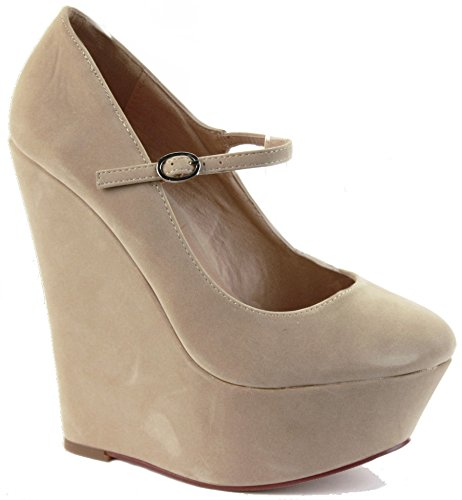 WOMENS LADIES STRAPPY PEEP TOE PLATFORM HIGH HEEL WEDGE SANDALS SUMMER WEDGES SHOES SIZE Style E - Beige Faux Suede YWw9p