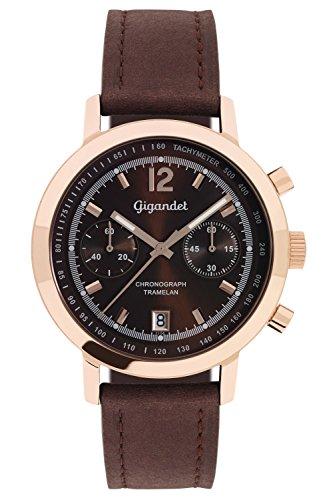 Gigandet Tramelan Herren Quarz Armbanduhr Braun Rotgold G10-008