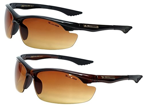- Xloop Hd Vision High Definition Anti Glare Driving Lens Sunglasses Wrap Semi Rimless Sports Eyewear (2 Pack Black/Brown)