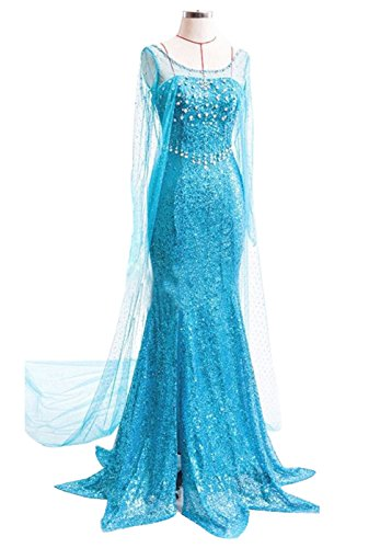 Quintion Norris Mermaid Sweetheart Party Dress Elsa Cosplay Dress with Outer Yarn