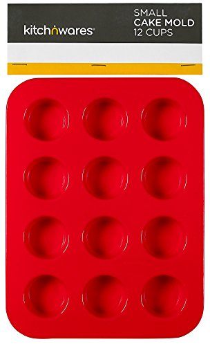 Small Silicone Mini Muffin Pans - Pack Of 2 Non-Stick Bakeware for Muffins, Cakes and Cupcakes - 12 Cups Silicone Mold / Baking Tray - Heat Resistant Tins up to 450°F - Red -By Kitch N' Wares