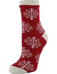 Women's Nordic Snowflake Cozy Cabin Socks Red,OSFM