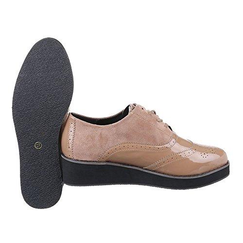 Ital-Design - Zapatos Planos con Cordones Mujer Beige