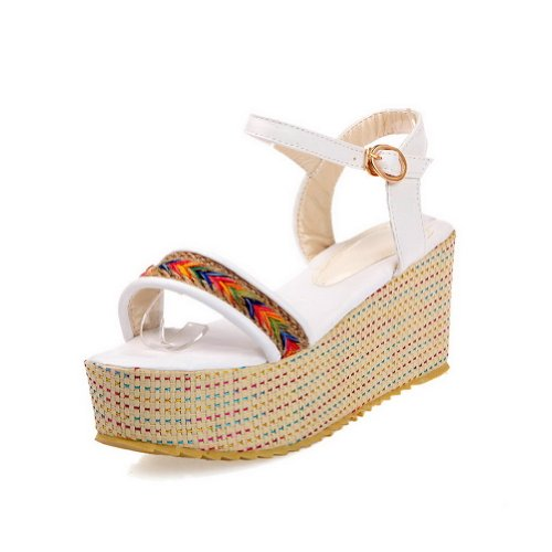 PU boucle VogueZone009 solides matériau souple bout pour à femmes sandales Chaussures hauts avec ouvert plateforme blanc talons ZxnZrzwUO
