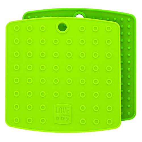 Lime Green Pot - Premium Silicone Trivet Mats/Hot Pads, Pot Holders, Spoon Rest, Jar Opener & Coasters - Our 5 in 1 Kitchen Tool is Heat Resistant to 442 °F, Thick & Flexible (7