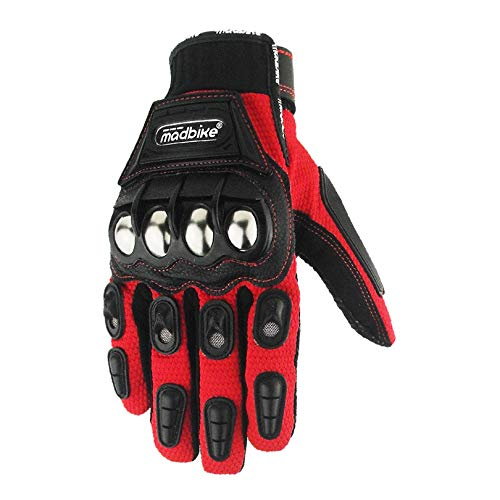 Xuba Men High Strength Alloy Pad Motorcycle Gloves Moto Racing Riding Gloves red M