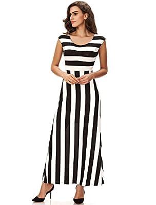 Noctflos Women's Summer Casual Loose Striped Long Dress Tank Maxi Dress