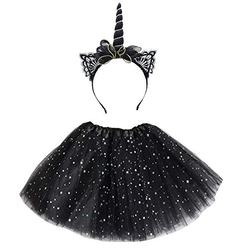 TONGRUI Unicorn Horn Headband Tutu Skirts Dress Multi-Layer Star Black Unicorn Costume Makeup Party Supplies