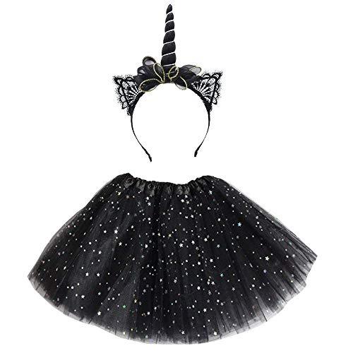 TONGRUI Unicorn Horn Headband Tutu Skirts Dress Multi-Layer Star Black Unicorn Costume Makeup Party Supplies -