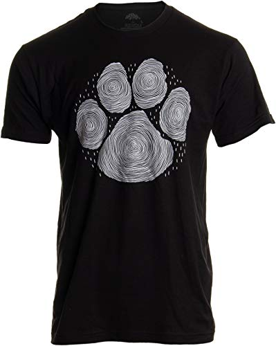 Paw Print Line Art | Artistic Illustration Nature Men Women Dog Cat Cool T-Shirt-(Adult,L) Black