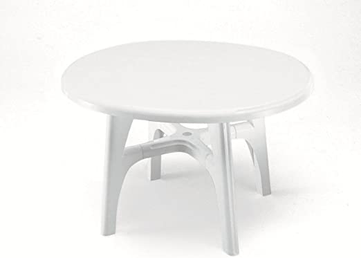 Mesa Ovalada para exterior, Mesa Resina 120 x 100, mesa blanco ...
