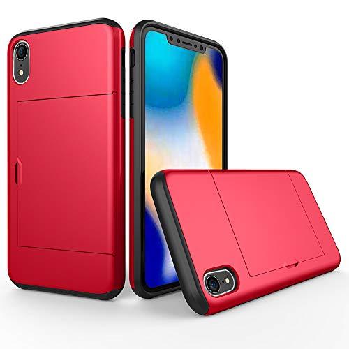 消化器めんどり収まるGrotech iPhoneXR ケース カード収納 耐衝撃 シンプル スリム ハイブリッド アイフォンXR 保護カバー (レッド)