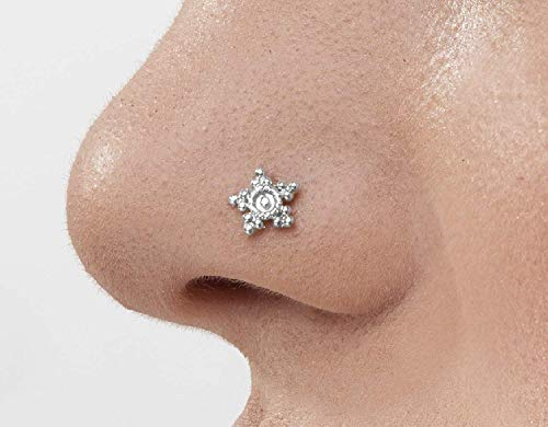 Nose Stud: Unique Handmade Indian Style Star Sterling Silver Nostril Jewelry in 20 Gauge For LEFT Side Piercings