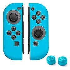 Insten Nintendo Switch Joy-Con [L/R] Skin Cover with 2-Pcs Thumb Grip Stick Caps (Style 1) [Anti-Slip/Ultra Thin] For Nintendo Switch Joy Con Left/Right Controller, Blue Color Set 1