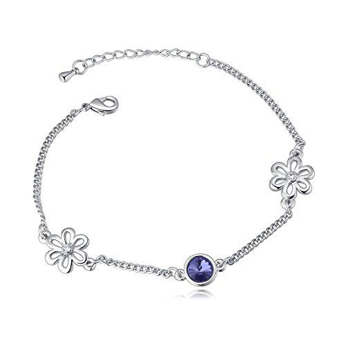 Diamonds Bracelet Sweet (Royarebar Elegant Cosmetics Bracelet Extravagance Women's Jewelry Lastest Crystal Bracelet Sweet Diamond Flower-Shaped Bracelet(Pale Pinkish Purple))