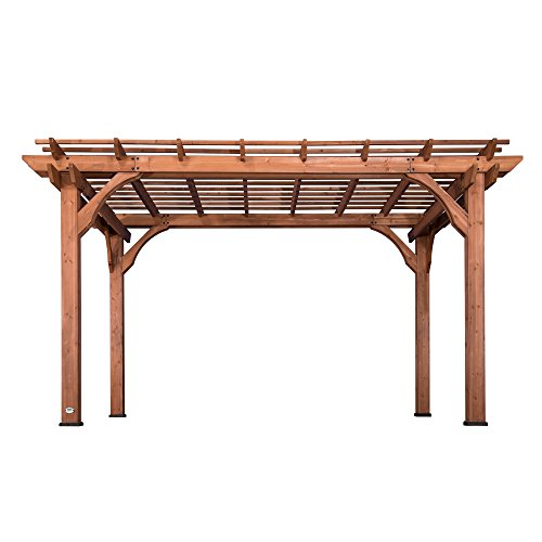 Backyard Discovery 1802513 Wooden Sturdy Pergola, 10' x 14' Cedar Stained