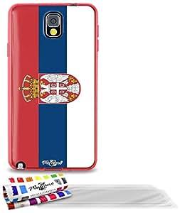 """Carcasa Flexible Ultra-Slim SAMSUNG N9000 de exclusivo motivo [Bandera Serbia] [Roja] de MUZZANO  + 3 Pelliculas de Pantalla """"UltraClear"""" + ESTILETE y PAÑO MUZZANO REGALADOS - La Protección Antigolpes ULTIMA, ELEGANTE Y DURADERA para su SAMSUNG N9000"""