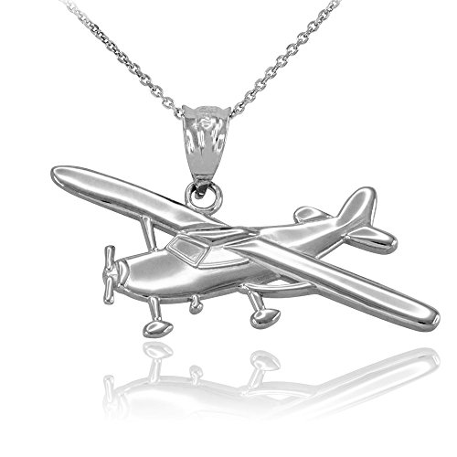 - Space and Aviation Polished 925 Sterling Silver Airplane Aircraft Pendant Necklace, 16