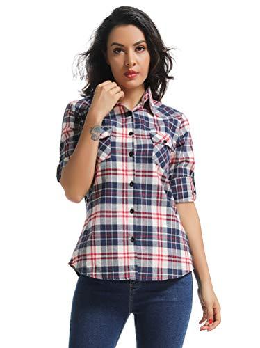 (OCHENTA Women's Long Sleeve Button Down Plaid Flannel Shirt M004 White Blue L)