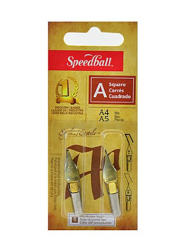 Speedball Lettering and Drawing Square Pen Nibs A Style A-4/A-5 pack of 2 [PACK OF 6 ] by Speedball